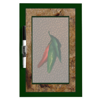 Green & Red Chili Peppers Dry Erase Board
