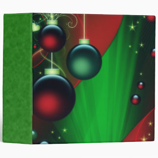Green & Red Christmas Ornaments Vinyl Binder