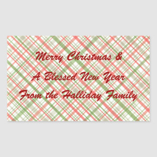 Green Red Christmas Plaid Personalized Food Label