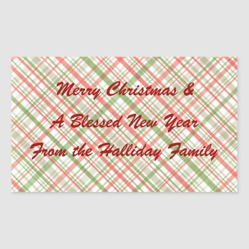 Green Red Christmas Plaid Personalized Food Label Rectangular Sticker