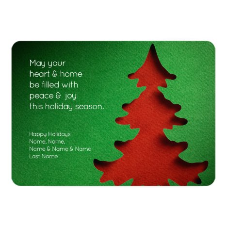 Green & Red Christmas Tree, 2-sided Photo Card