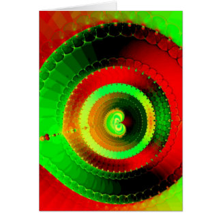 Green Red Circle Fractal Card