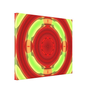 Green Red Circle Pattern Gallery Wrap Canvas
