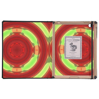 Green Red Circle Pattern iPad Folio Cases