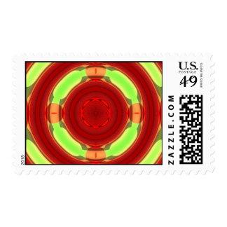 Green Red Circle Pattern Stamp