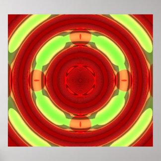Green Red Circle Pattern Poster