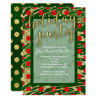 Green & Red Circles Gold Holiday Party Invitations