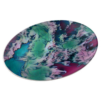Green Red Colorful Abstract Marbling Pattern Porcelain Plate