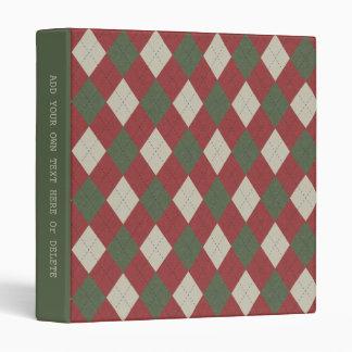 Green & Red Festive Argyle Plaid Pattern Binders