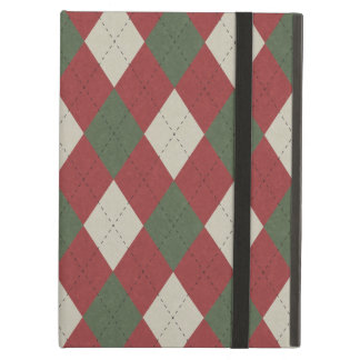 Green & Red Festive Argyle Plaid Pattern Case For iPad Air