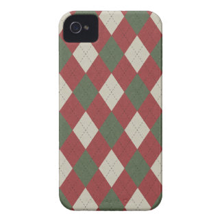Green & Red Festive Argyle Plaid Pattern iPhone 4 Case-Mate Case