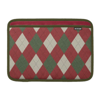 Green & Red Festive Argyle Plaid Pattern Sleeve For MacBook Air