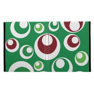 Green Red Festive Christmas Circles Dots Pattern iPad Folio Cases