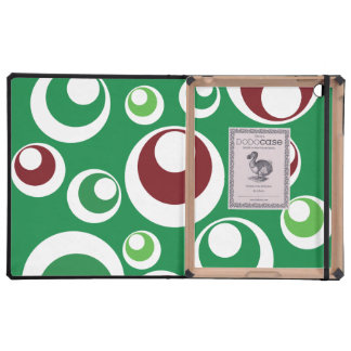 Green Red Festive Christmas Circles Dots Pattern iPad Cover