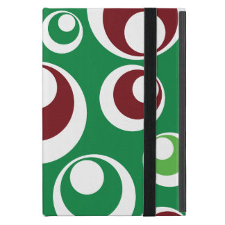 Green Red Festive Christmas Circles Dots Pattern Case For iPad Mini