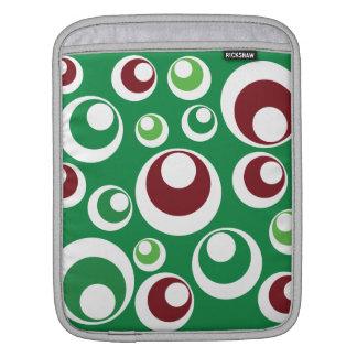 Green Red Festive Christmas Circles Dots Pattern iPad Sleeve