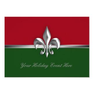 Green Red Fleur de Lis Holiday Event Custom Invitations