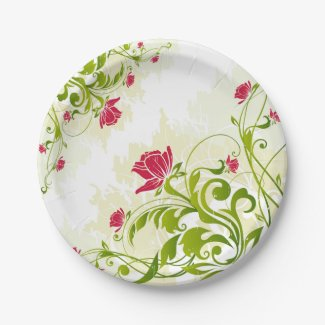 Green Red Floral Ornament Plate 7 Inch Paper Plate