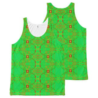 Green Red Fractal Holiday All-Over Print Tank Top