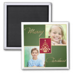 Green, Red, Gold Christmas Tree Photo Magnet