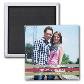 Green, Red & Gray Photo Save The Date Magnet