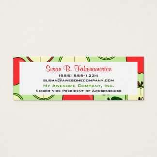 Green & Red Half Apple Print Skinny Business Card