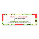 Green & Red Half Apple Print Skinny Business Card