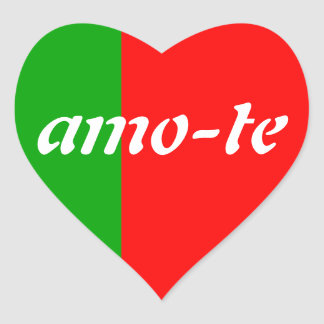 Green Red Heart Amo-Te stickers
