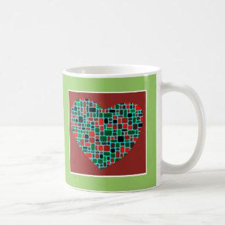 Green & Red Heart Coffee Mug