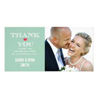 Green Red Heart Wedding Photo Thank You Cards Photo Card