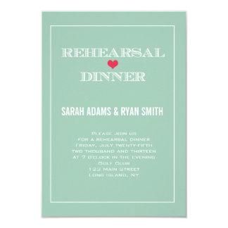 "Green Red Heart Wedding Rehearsal Dinner Invites 3.5"" X 5"" Invitation Card"