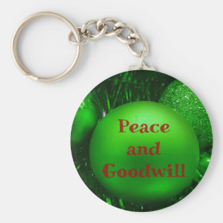Green Red Holiday 'Peace and Goodwill' Round Balls Keychain