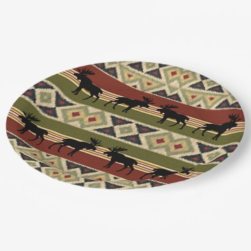Aztec Themed Green Red Ivory Ochre Ethnic Look Paper Plate