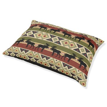 Aztec Themed Green Red Ivory Ochre Ethnic Look Pet Bed