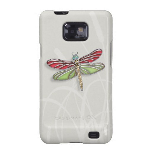 Green & Red Jeweled Dragonfly Samsung Galaxy S2 Covers