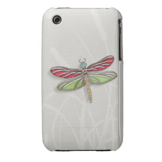 Green & Red Jeweled Dragonfly Case-Mate iPhone 3 Case