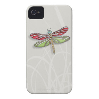 Green & Red Jeweled Dragonfly Case-Mate iPhone 4 Cases