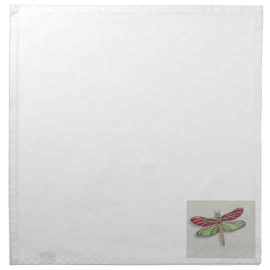 Green & Red Jeweled Dragonfly Cloth Napkin