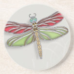 Green & Red Jeweled Dragonfly Coaster