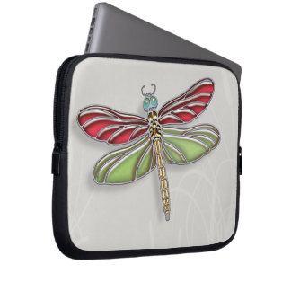 Green & Red Jeweled Dragonfly Computer Sleeve