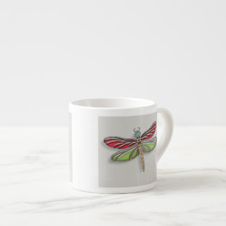 Green & Red Jeweled Dragonfly Espresso Cup