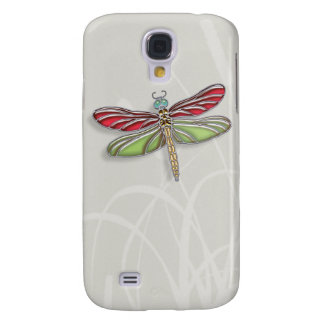 Green & Red Jeweled Dragonfly Galaxy S4 Case