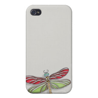 Green & Red Jeweled Dragonfly iPhone 4 Case