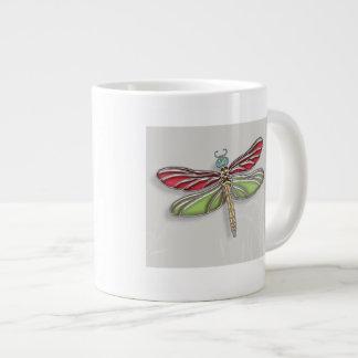 Green & Red Jeweled Dragonfly Large Coffee Mug