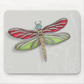 Green & Red Jeweled Dragonfly Mouse Pad