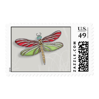 Green & Red Jeweled Dragonfly Postage Stamp