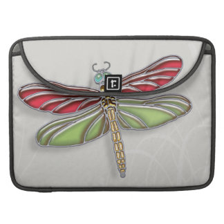 Green & Red Jeweled Dragonfly Sleeve For MacBook Pro
