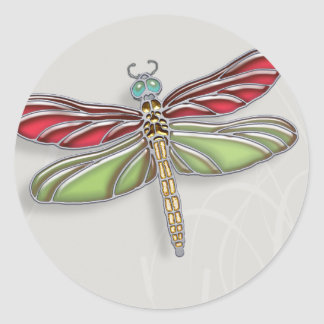 Green & Red Jeweled Dragonfly Round Sticker