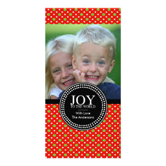 """Green Red """"JOY TO THE WORLD"""" Holiday Photo Card"""