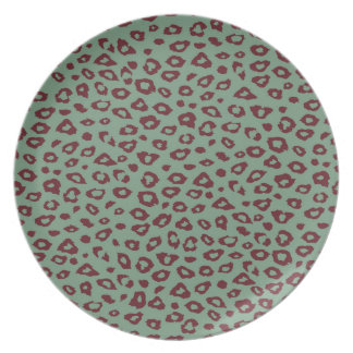 Green Red Leopard Print Party Plates